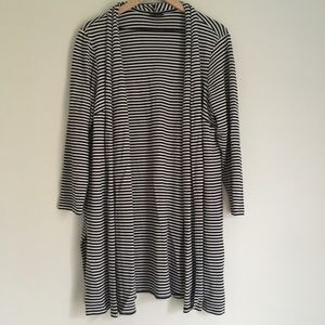 J JILL black and white striped long open cardigan